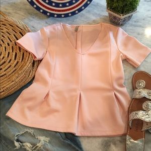 ASOS Blush Peplum Scuba Stretch Blouse (4) NWOT!